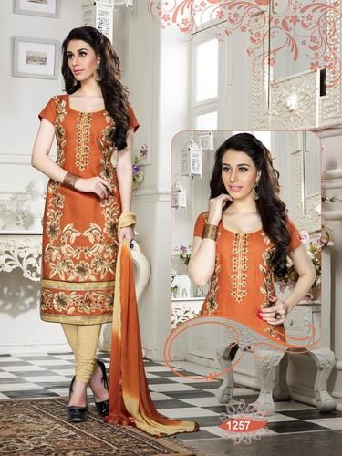 Designer Shiny Orange Salwar Suit