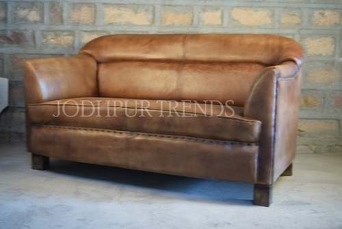 Leather Sofa Two seater , Jodhpurvintage Furniture