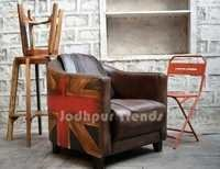 Leather Canvas Sofa , Industrial Furniture