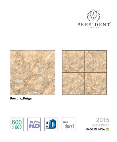 Breccia-beige glazed vitrified tiles
