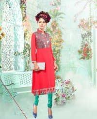 Designer Embellished Red Kurti