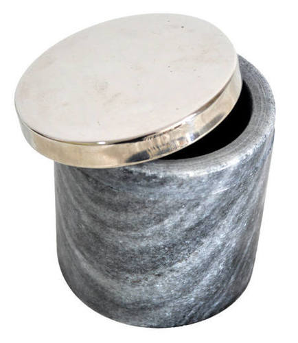 Stone Container with Brass Lid