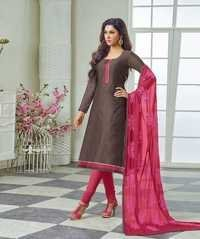 Plain Dress With Embroidered Dupatta