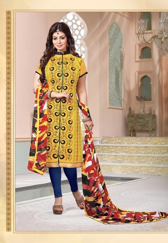 Yellow Embroidered Dress Material