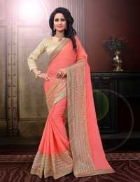 Chiffon Saree With Net Embroidery