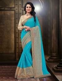 Net Embroidered Chiffon Saree