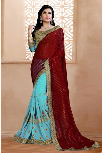 Embroidered Saree With Embroidered Blouse