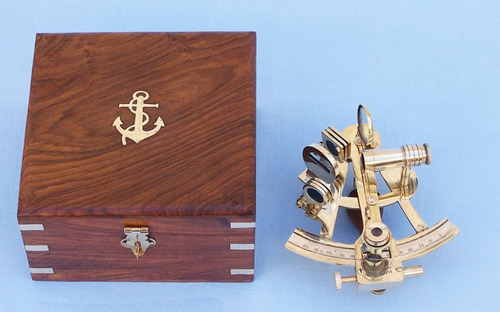 Nautical Marine Brass Sextant with Box