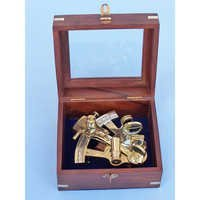 Nautical Brass Vintage Sextant with Box