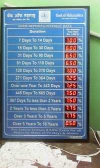 Bank Interest rate Led Board