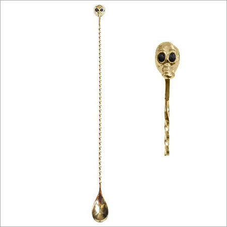 Gold Skull Bar Spoon