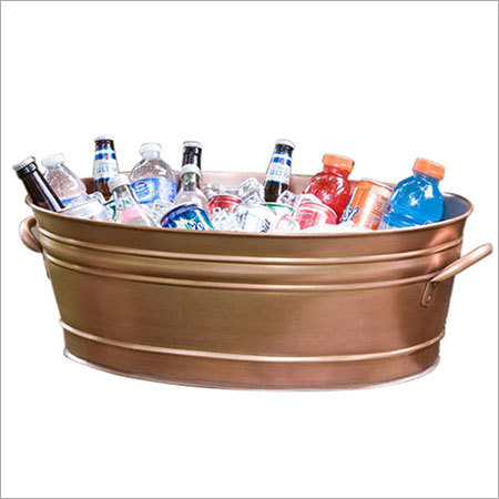 Large Copper Finish Galvanized Beverage Party Tub