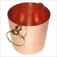 Copper Hammered Bucket With Ring Handle