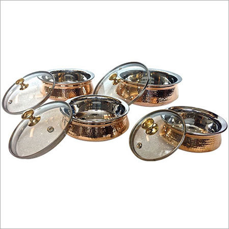 Copper Handi with Glass Lid