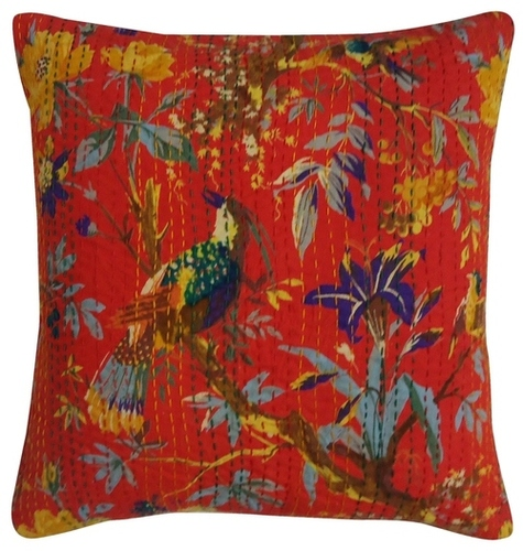 Bird Print Kantha Cushion Cover