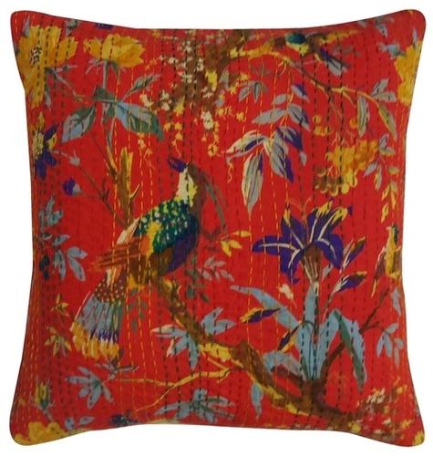 Bird Print Kantha Cushion Cover