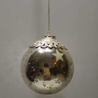 Glass Silver Hanging Balls