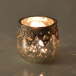 Glass Silver Candle Votive
