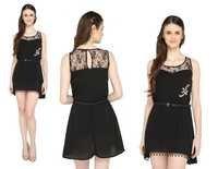 Bedazzle Women's High Low Black Dress