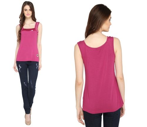 Bedazzle Casual Sleeveless Embellished Women's Pink Top
