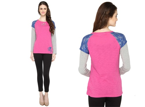 Bedazzle Casual Full Sleeve Solid Women's Pink, Blue, Grey Top