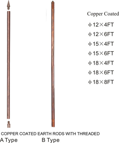COPPER COATED EARTH RODS WITH THREADED