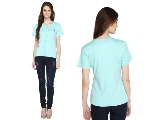 Bedazzle Casual Short Sleeve Solid Women's Green Top