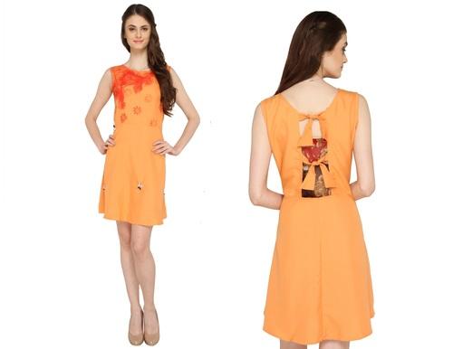 Bedazzle Women's A-line Orange Dress