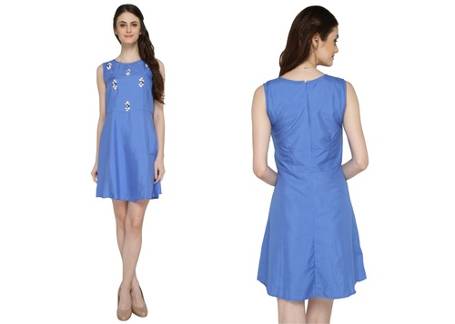Bedazzle Women's Gathered Blue Dress