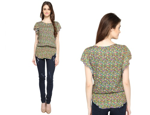 Bedazzle Casual Short Sleeve Floral Print Women's Green Top