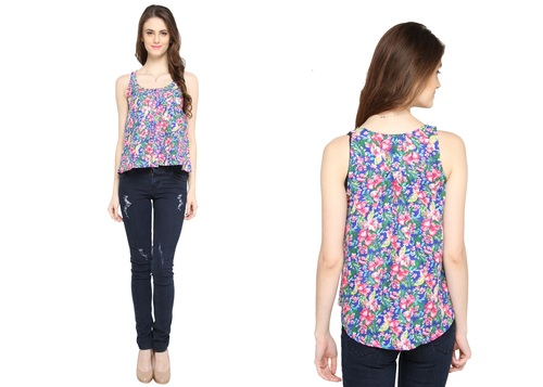 Bedazzle Casual Sleeveless Floral Print Women's Blue Top