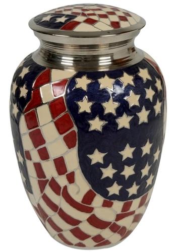 Flag Design Brass Urn