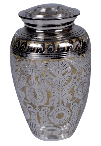 Matt Nickel Engraved Brass Urn