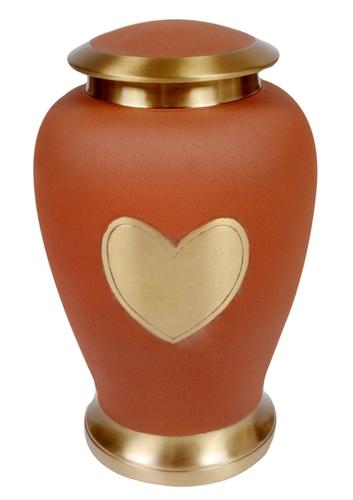 Heart Orange Brass Urn
