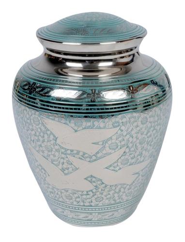 Classy Engraved Flying Bird Brass Urn