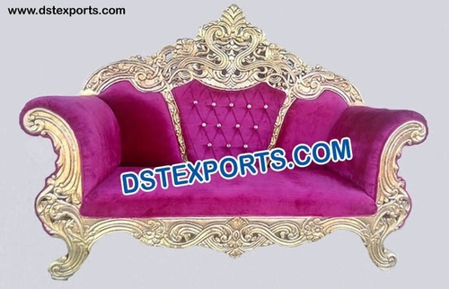 Golden Carved Throne Wedding Sofa