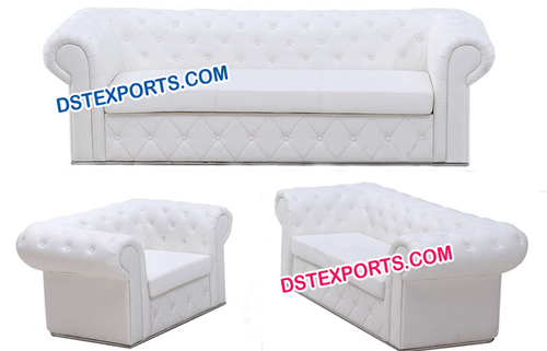 English Wedding Leather Tufted Sofa