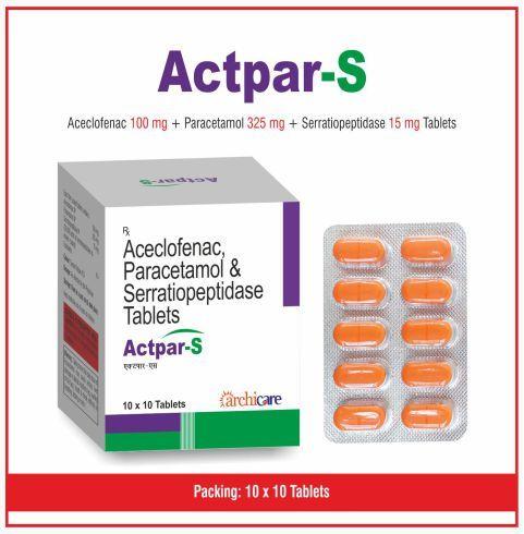 Aceclofence 100 + Paracetamol 325 + Serratiopeptidase 15