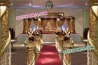 Wedding Golden Glittering Crystal Mandap