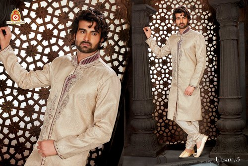 Off White Party Wear Sherwani