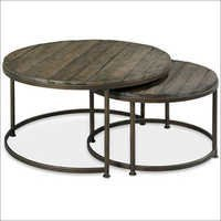 Link Wood set of 2 round Nesting Coffee Table