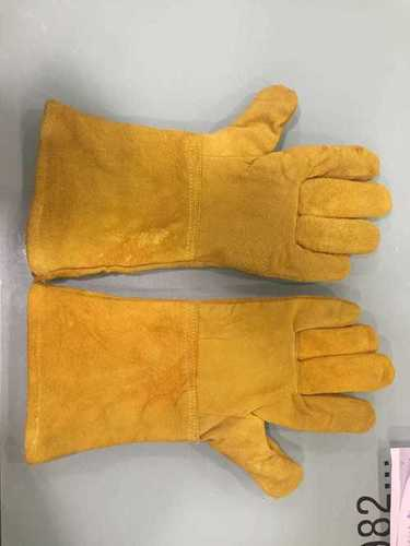 Reversable Yellow Leather Hand Gloves