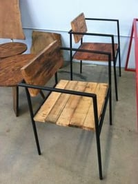 Reclaimed Wood Chair and Steel base
