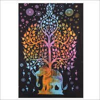 Elephant with Tree black  Tapestry