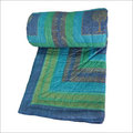 Jaipuri Ethnic Print Blue Single Bed Quilt