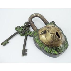 Functional Brass Garden Padlock in Lion Head