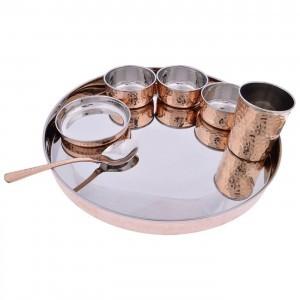 Copper Stainless Steel Dinnerware Thali Set Traditional Indian Cuisines Serving Utensils Set  sc 1 st  Street Craft - TradeIndia & Copper Stainless Steel Dinnerware Thali Set Traditional Indian ...