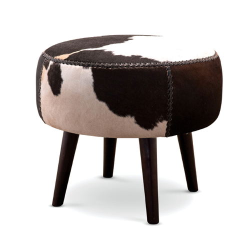 Anais Cowhide Stool Black White