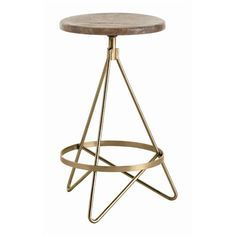 Brass and wood swivel Counter Stool