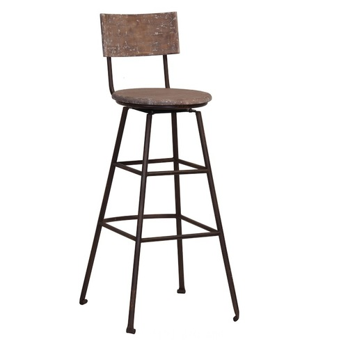 Canteen aged industrial wooden swivel bar stool